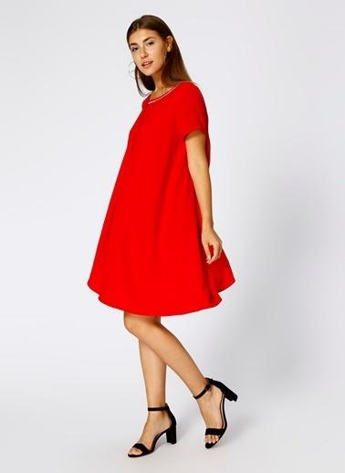 House Of Camellia Kısa Kollu Salaş Elbise Kırmızı